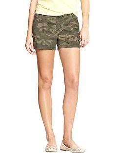 """Womens Utility Shorts (3-1/2"""") - Camoflauge, Khaki, or Olive colors -"""