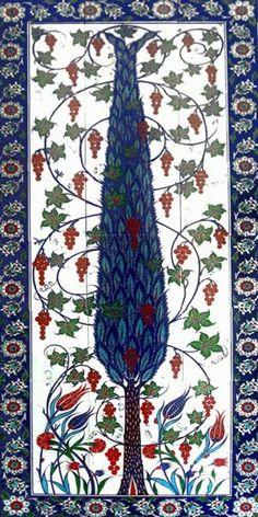 Çini pano servi Ceramic Tile Art, Ceramic Design, Mosaic Art, Turkish Art, Turkish Tiles, Islamic Art Pattern, Pattern Art, Gond Painting, Chinese Patterns