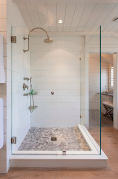 shiplap in the shower, WOW!! the lovely glass shower is beautiful.. love it!!