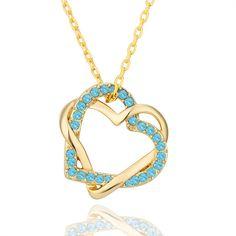 Caliente de Cristal de la CZ 18 K chapado en oro de doble corazón colgante de joyería de moda collar de regalo de compromiso para mujer de…