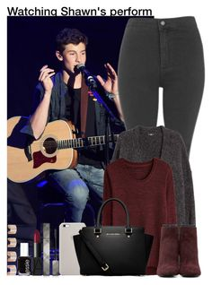"""""""Watching Shawn's perform"""" by unknowgirl-1 ❤ liked on Polyvore featuring Topshop, H&M, Proenza Schouler, MICHAEL Michael Kors, Burberry, NARS Cosmetics, Essie and Maison Margiela"""