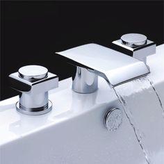 Chrome Finish Double Handle Waterfall Bathtub Faucet