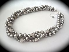 Gray // Chunky Pearl necklace // Crystal and by QueenMeJewelryLLC, $96.99