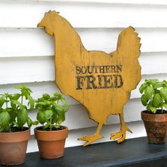 Chicken Sign Southern Fried Roadside Sign Hen Kitchen Wall Decor. $82.00, via Etsy.