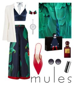 """""""Mules"""" by vickiecookie ❤ liked on Polyvore featuring Attico, F.R.S For Restless Sleepers, Armani Jeans, Lulu Guinness, Alice + Olivia, DKNY, Tom Ford, Givenchy and Atelier Swarovski"""