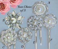 Choose 3 Bridal Hair Pins Pearl bobby Pins by MissJoansBridal