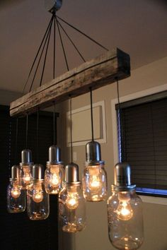 44 DIY ideas with mason jars that show creativity in .- 44 DIY Ideen mit Einmachgläsern, welche die Kreativität in einem wecken 44 DIY ideas with mason jars that awaken creativity in one - Rustic Lighting, Industrial Lighting, Chandelier Lighting, Lighting Ideas, Industrial Style, Ceiling Lighting, Outdoor Lighting, Chandelier Ideas, Rustic Chandelier