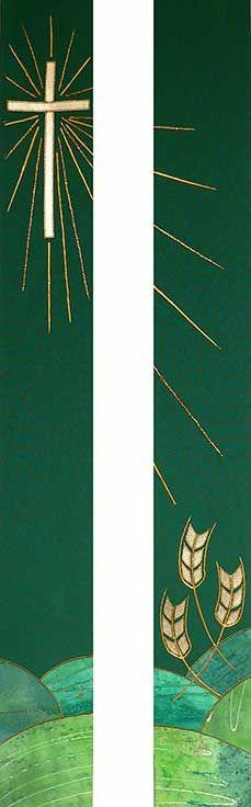 Green stole design cross & wheat