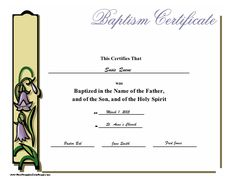 Baptism Certificate For Presenting To Someone After He Or She Is