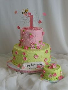 Hmm cute girlie birthday cake idea and I have the stencil for the scroll