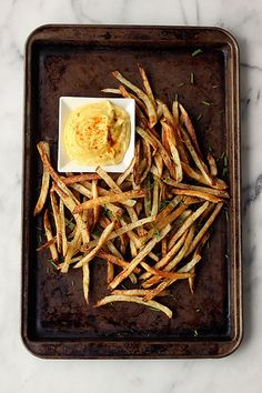 How-to Make Perfect French Fries by Tasty Yummies, via Flickr  Start 90 mins early. Need 60 mins to soak.  When making 3 trays, set to 500.