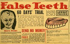 False Teeth, with 60 day trial. Advertisement from Blade and Ledger magazine in MS 141.