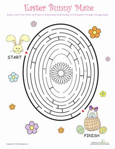 Unique Easter Games To Make Your Easter Celebration More Fun easter games for kids - Bunny Maze Easter Games For Kids, Easter Activities, Easter Crafts For Kids, Easter Ideas, Sunday Activities, Family Activities, Easter Worksheets, Easter Printables, Seasons Worksheets