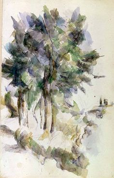 Paul Cezanne died in His work in our collection features a grouping of somber trees: Paul Cezanne, Cezanne Art, Renoir, Watercolor Trees, Watercolor Paintings, Watercolours, Landscape Art, Landscape Paintings, Landscapes