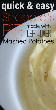 This is one of those really quick and easy dinner recipes that I love to make! It's an excellent way to use up your left-over mashed potatoes!