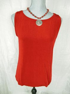 CHICOS TRAVELERS 2 L Top Red Slinky Shell Tank Sleeveless Classic Knit Shirt USA #Chicos #KnitTop #Career #KnitTop##Casual#dressitup#everyday#fashion#style#trend#summer#sale#deal#chicosforsale#sweater#chicosstyle#red#travelers#socute#adorable#basic#gottohaveit#resale