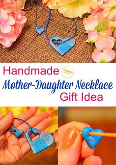 This handmade Mother-Daughter necklace gift idea is really so adorable! Such a simple gift idea for Mother's Day! Mother Daughter Crafts, Mother Daughter Activities, Mother Daughter Necklace, Mothers Day Crafts, Simple Gifts, Easy Gifts, Gifts For Mom, Daughters Day, Lucky Horseshoe