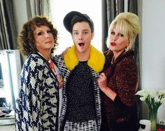 Chris Colfer with the AbFab ladies
