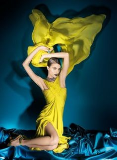 Beautiful fashion photography in blue and yellow