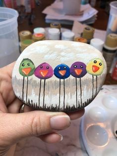 Birds painted rock