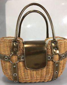 f4f93a5f4f2f Aldo Natural Straw Woven Basket Handbag Purse Gold Handles & Straps  Lined #Aldo #