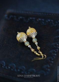"Earrings ""Sunny Drink"" Agate, hematite, accessories"