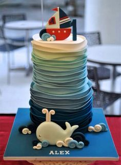 I LOVE this cake with an ombre coloring and ribbon frosting application to look like waves. Would simplify the topper of the cake and just have the whale.