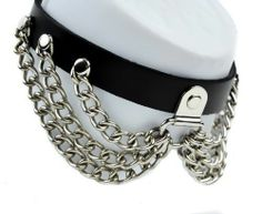 Dysfunctional Doll Silver Chain Leather Gothic Choker Necklace : Chokers