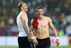 Manuel Neuer and Bastian Schweinsteiger - Germany v Portugal - Group B: UEFA EURO 2012