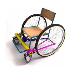 """Very good idea from Lui Nan, from """"Lycée Leonard de Vinci in Villefontaine"""" ! Working on reusing mostly bike parts to make wheelchairs for people in developing countries."""
