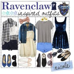 Idk what ravenclaw is but the outfits are cute lol Harry Potter Mode, Harry Potter Style, Harry Potter Outfits, Casual Cosplay, Cosplay Outfits, Disney Outfits, Disney Clothes, Harry Potter Kleidung, Rebel Outfit