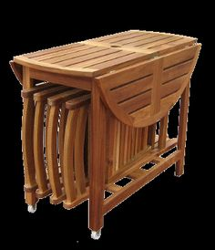 Round Folding Wooden 39 Diameter Table Set With 4 Storable Patio Chairs 349 00 Free
