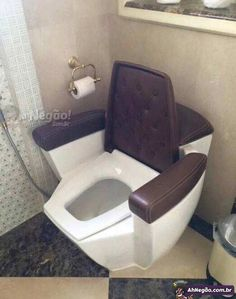 With such comfortable toilet, I can bet my husband will take a very long time in bathroom. Dream Bathrooms, Bathroom Interior, Home Interior Design, Furniture Design, Bedroom Decor, House, Home Decor, Toilet Cost, Funny Pictures