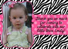 Zebra Birthday, Zebra princess party, Princess Crown, Hot pink and black zebra, First birthday thank you