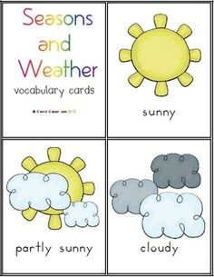 Seasons and Weather Vocabulary Cards - PDF file    10 pages designed by Clever Classroom.    Introduce the weather elements by asking children to identify the types of weather that you see in your region and then country and also other parts of the world. Match the weather cards to the weather that you are experiencing on any given day, during your morning work routine. Label the type of weather that you had yesterday and predict the weather they you may have tomorrow. Discuss how $
