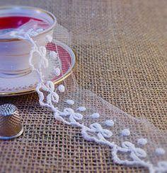 NEW Ivory Embroidered Tulle M335 Haberdashery, Ethnic, Tulle, Ribbon, Ivory, Indian, Traditional, Boho, Bridal