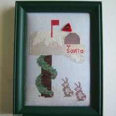 Completed Cross Stitch Letter Santa JABC Cardinal Button Bunnies Linen Framed