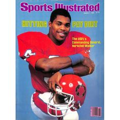 Herschel Walker, Sports Illustrated Cover from March 1983 - After signing with the New Jersey Generals of the USFL. Football Stickers, Nfl Football, College Football, Football Players, Baseball, Vikings Football, Football Uniforms, Football Season, Football Helmets