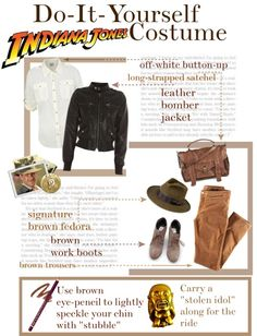 """DIY Indiana Jones Costume"" by in-a-stolen-thought on Polyvore... might have to do this for Bethany's party:)"