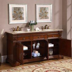 Silkroad Exclusive Oakdale Bathroom Double Sink Vanity | Overstock.com  Shopping   The Best Deals