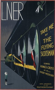 This 1932 poster depicts the London & North Eastern Railway (LNER) and the Flying Scotsman as the embodiment of speed and modernity, whilst having a sly dig at the Southern Railway's 'Little Boy' poster. For all its stylish accomplishment, this poster was not well received by the travelling public, and therefore not re-issued in 1933. Image No. 10173153
