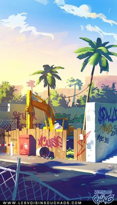 Street environment concept on Behance ★ Find more at… Cartoon Background, Animation Background, Art Background, Free Illustration, Illustrations, Environment Concept, Environment Design, Matte Painting, Arte Pop