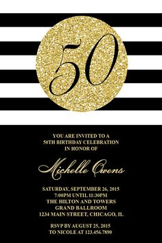 Black and gold or white and gold party invite perfect for a gold 50th birthday party invitation black and white por honeyprint filmwisefo