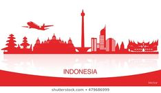 Vector red color Flat design, Illustration of Indonesia Icons, flag, and landmarks with reflections. Indonesian Independence, Famous Landmarks, Flat Design, Red Color, Royalty Free Stock Photos, My Arts, Flag, Graphic Design, Wallpaper