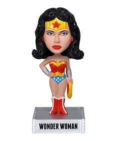 This Wonder Woman Wacky Wobblercollectiblewill add some superhero style to any desk or shelf. Arriving in its own display boy, it makes a perfect gift for fans, collectors or kids of any age.7'' HPVC plasticSpot cleanImported