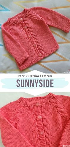 Sunnyside Free Knitting Pattern This is a gorgeous, soft and cozy baby cardigan that you can decorate with cables, lacework, openwork or all kinds of appliques. It is the perfect base, evidently… Baby Cardigan Knitting Pattern Free, Kids Knitting Patterns, Baby Sweater Patterns, Knitted Baby Cardigan, Knit Baby Sweaters, Knitting For Kids, Knitting Designs, Baby Patterns, Free Knitting