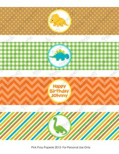 Printable Baby Dinosaur Birthday Water Bottle por PinkPosyPaperie