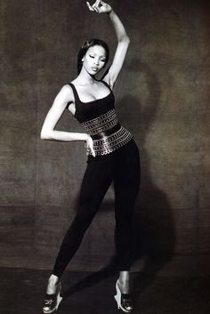 SUPERMODEL NAOMI CAMPBELL. 1991. Model Naomi Campbell in Azzedine Alaia (Tunisian). Photo by Peter Lindbergh (1944)