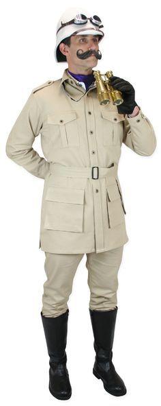 Victorian Mens Brown,Tan Cotton Solid Point Collar Safari Coat | Dickens | Downton Abbey | Edwardian || Deluxe Safari Bush Jacket - Khaki