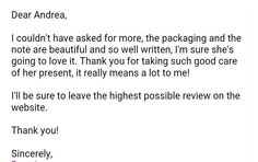 Waking up to this email from a customer  It makes my hart swell with happiness. I make my work with much love and I do care a lot about my packaging and that when someone opens it it will feel as a present.  #thankfull #happycustomer #happyseller